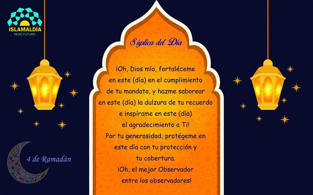 Súplica del Día 4 del Mes de Ramadán