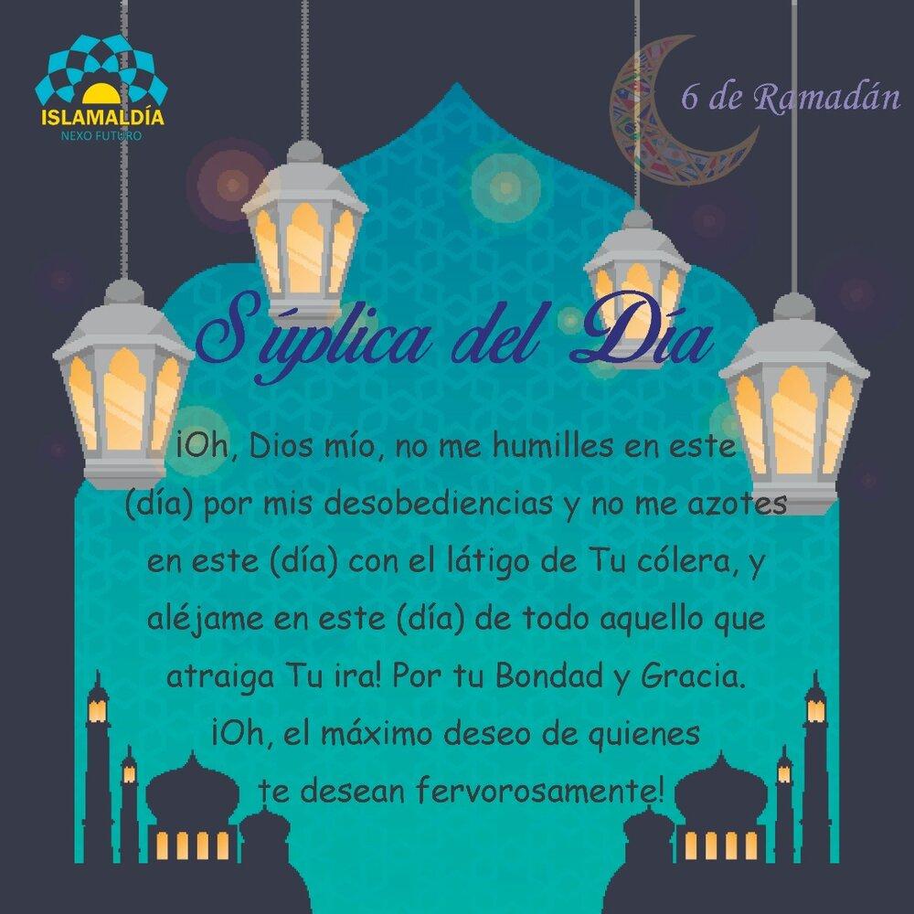 Súplica del Día 6 del Mes de Ramadán