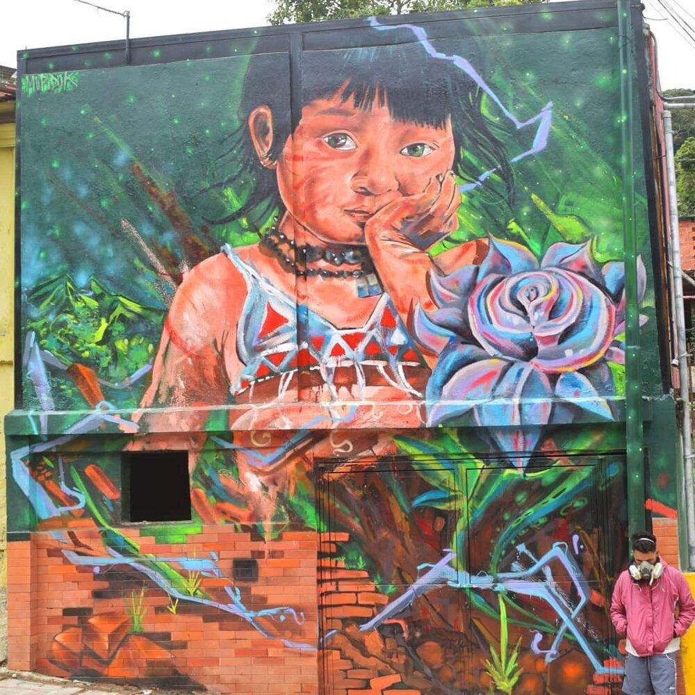 GALERÍA TIERRA VIVA. Julio Linares. Hija de Guaicaipuro. 2018. Spray y pintura de aceite sobre muro.