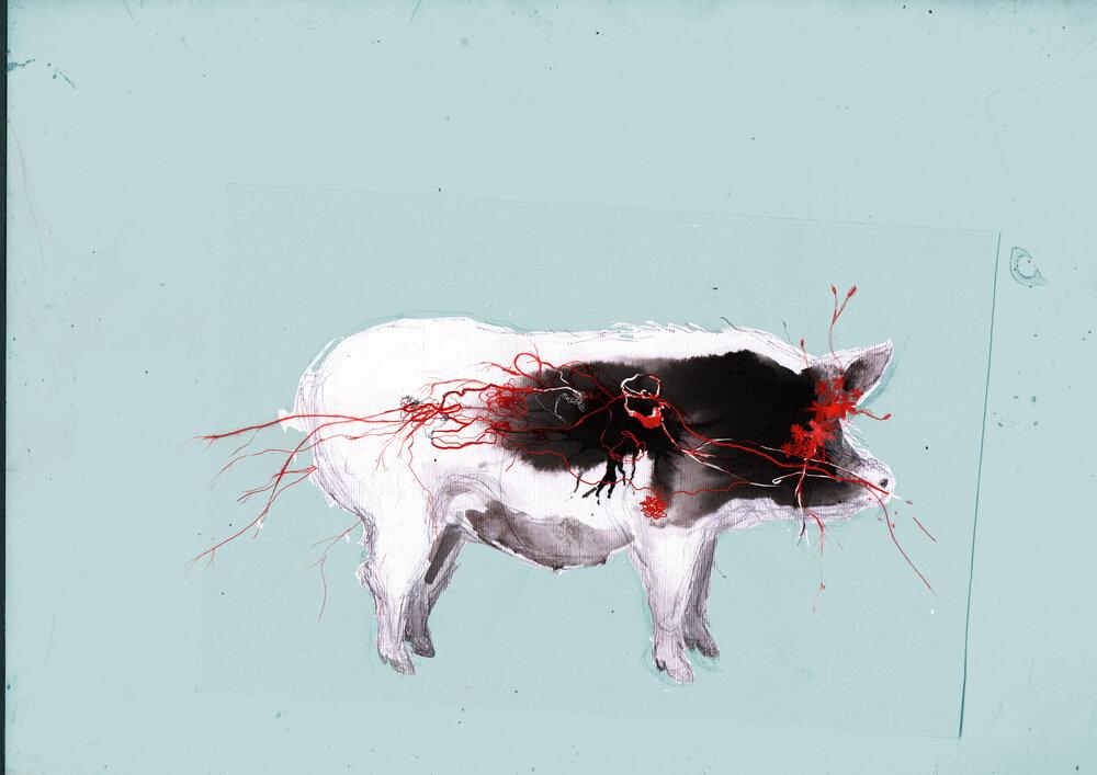 GALERÍA TIERRA VIVA. Autora: Andrea Britto. Título: Una (1) cabeza de ganado. Año: 2021. Técnica: Mixta